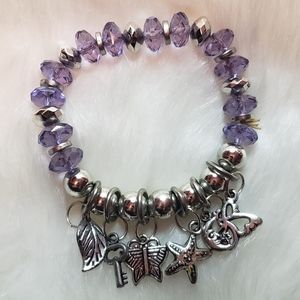 Vintage Purple Stretch Charm Bracelet